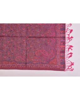 Veľká šál s motívom paisley, so strapcami, tmavo ružová, 68x180cm