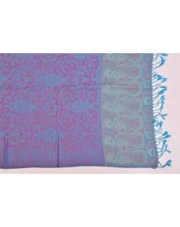 Veľká šál s motívom paisley, so strapcami, tyrkysová, 68x180cm