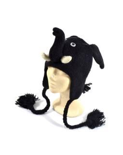 Čiapka s ušami, Čierny slon, vlna, podšívka