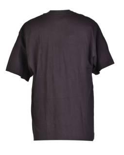 Tričko, pánske, krátky rukáv, čierne, vyšívané, Buddhove oči šedivé