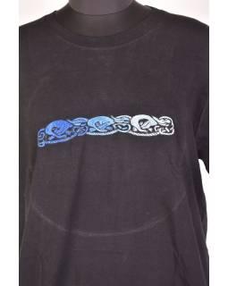 Tričko, pánske, krátky rukáv, čierne, výšivka Three dog in line, modrá