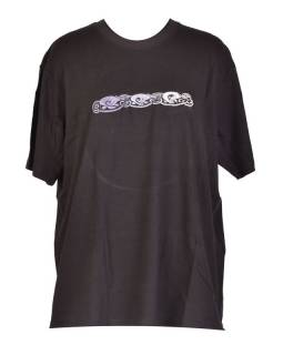 Tričko, pánske, krátky rukáv, čierne, výšivka Three dog in line, šedivá