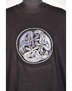 Tričko, pánske, krátky rukáv, čierne, výšivka Three dog in a circle, šedivá