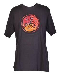 Tričko, pánske, krátky rukáv, čierne, výšivka Three dog in a circle, červená