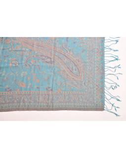 Hodvábny prikrývka na posteľ so strapcami a vzorom, 260x240cm
