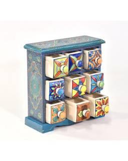 Skrinka s 9 keramickými šuplíky, ručne maľovaná, 26x12x26cm