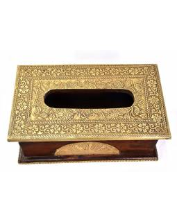 Krabička na vreckovky, drevené, zdobená mosadzným plechom, 26x15x10cm