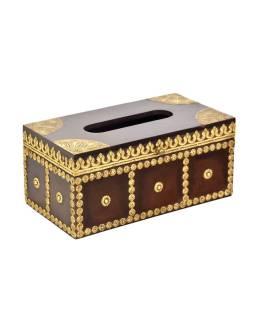 Krabička na vreckovky, drevené, zdobená mosadzným plechom, 28x15x13cm