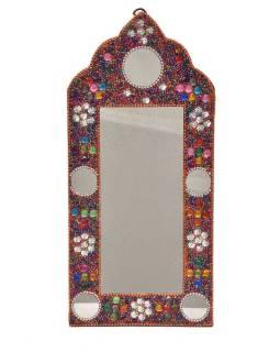 Malé zrkadielko, bohato zdobené, Bajrami technika, farebné, 30x14cm