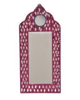 Malé zrkadielko, bohato zdobené, Bajrami technika, ružové, 30x14cm