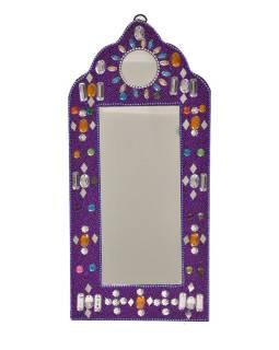 Malé zrkadielko, bohato zdobené, Bajrami technika, fialovej, 30x14cm