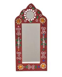 Malé zrkadielko, bohato zdobené, Bajrami technika, červené, 30x14cm