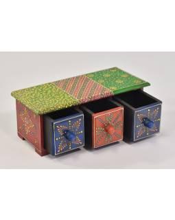 Drevená skrinka s 3 šuplíky, ručne maľovaná, zelená, 28x11x13cm