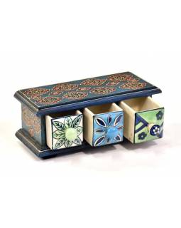 Drevená skrinka s 3 keramickými šuplíčky, 23x10x10cm