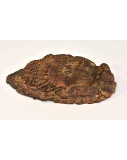 Unikátny maska hlava Budhu, keramika v úprave dreva, 36cm