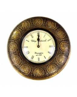Nástenné hodiny, tepaná mosadz, zodiac, prům.29cm