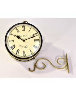 Obojstranné závesné hodiny, zlatá, kvetinový motív, zdobený mosadzný plech, 22cm