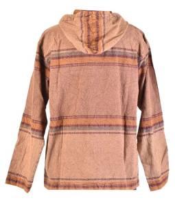 Pánska bunda s kapucňou zapínaná na zips, hnedá