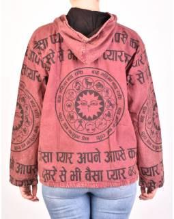 Pánska bunda s kapucňou zapínaná na zips, vínová, potlač zverokruh, stone wash