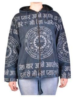 Pánska bunda s kapucňou zapínaná na zips, tmavo modrá, potlač zverokruh, stone wash