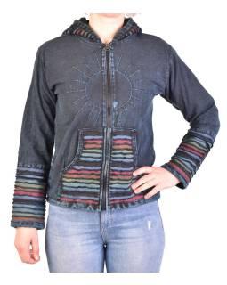 Pánska bunda s kapucňou zapínaná na zips, tmavo modrá, ručné výšivka, stone wash