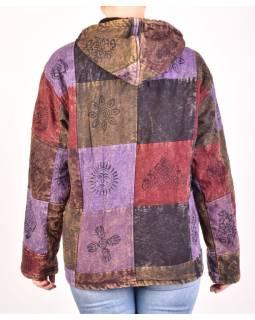 Pánska bunda s kapucňou zapínaná na zips, fialovo-hnedá, potlač, stone wash
