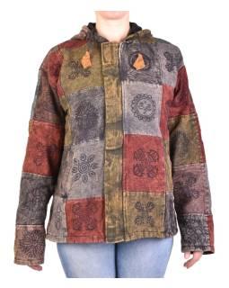 Pánska bunda s kapucňou zapínaná na zips, vínovo-šedá, potlač, stone wash