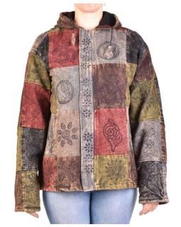 Pánska bunda s kapucňou zapínaná na zips, hnedo-šedá, potlač, stone wash