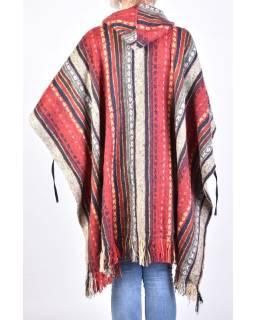 Tibetské pončo z česanej bavlny, vrecká, kapucňa, červená