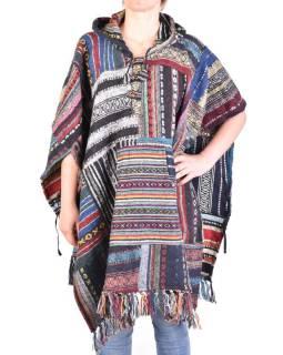 Tibetské pončo z česanej bavlny, vrecká, kapucňa, multifarebné, patchwork