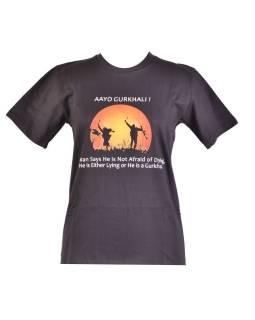 Čierne tričko s krátkym rukávom, potlač AAYO GURKHALI!