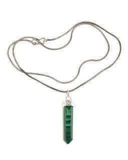 Dlhý náhrdelník s kameňom imitácia Malachyt, strieborná farba retiazky