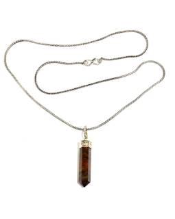 Dlhý náhrdelník s kameňom Tigrie oko, strieborná farba retiazky