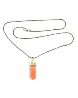 Dlhý náhrdelník so sv. hnedý, kameňom, strieborná farba retiazky,