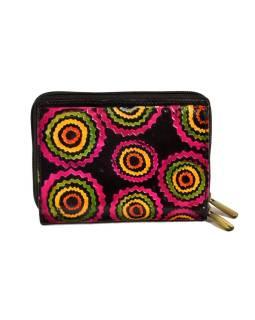 """Peňaženka design """"Ziz Zak Circles"""", ručne maľovaná kože, čierna, 15x10cm"""