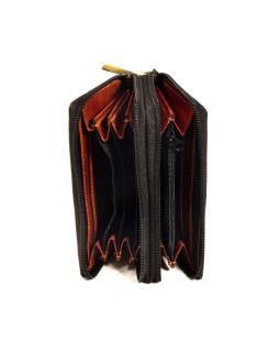 """Peňaženka design """"Ziz Zak Circles"""", ručne maľovaná koža, hnedá, 15x10cm"""