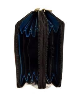 """Peňaženka design """"Ziz Zak Circles"""", ručne maľovaná koža, modrá, 15x10cm"""