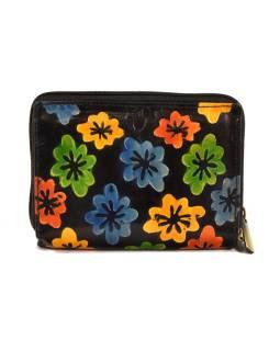 """Peňaženka design """"Drobné kvety"""", ručne maľovaná kože, čierna, 15x10cm"""