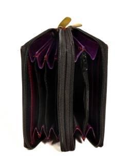 """Peňaženka design """"Drobné kvety"""", ručne maľovaná kože, vínová, 15x10cm"""