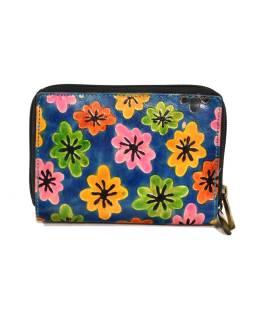 """Peňaženka design """"Drobné kvety"""", ručne maľovaná koža, modrá, 15x10cm"""