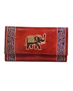 """Peňaženka design """"Indian elephant"""" ručne maľovaná kože, červená, 18x10,5cm"""