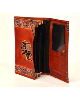 """Peňaženka design """"Indian elephant"""" ručne maľovaná koža, hnedá, 18x10,5cm"""