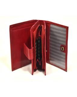 """Peňaženka, design """"Kytička"""", ručne maľovaná kože, červená, 12x9cm"""