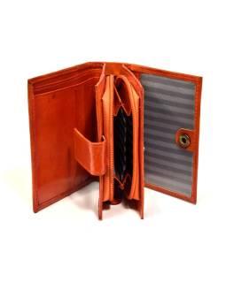 """Peňaženka, design """"Kytička"""", ručne maľovaná kože, oranžová, 12x9cm"""