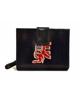 """Peňaženka, design """"Slon"""", ručne maľovaná kože, čierna, 12x9cm"""