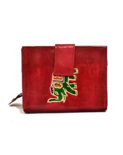 """Peňaženka, design """"Slon"""", ručne maľovaná kože, červená, 12x9cm"""