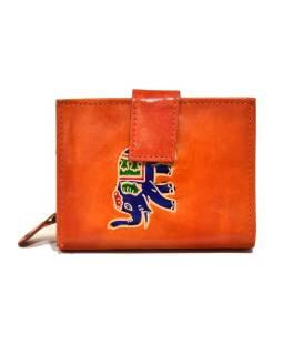 """Peňaženka, design """"Slon"""", ručne maľovaná kože, oranžová, 12x9cm"""