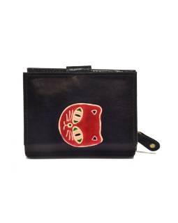 """Peňaženka, design """"Mačka"""", ručne maľovaná kože, čierna, 12x9cm"""
