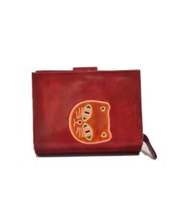 """Peňaženka, design """"Mačka"""", ručne maľovaná kože, červená, 12x9cm"""