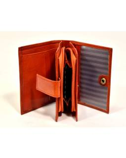 """Peňaženka, design """"Mačka"""", ručne maľovaná koža, oranžová 12x9cm"""